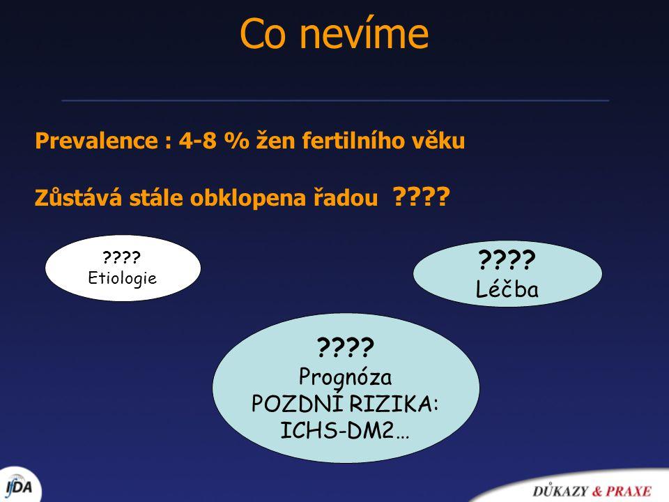 Co nevíme Prevalence : 4-8 % žen fertilního věku Zůstává stále obklopena řadou ???? ???? Etiologie ???? Prognóza POZDNÍ RIZIKA: ICHS-DM2… ???? Léčba