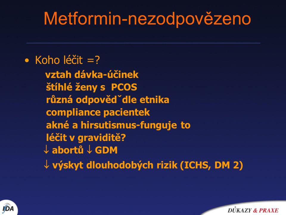 Metformin-nezodpovězeno Koho léčit =? vztah dávka-účinek štíhlé ženy s PCOS různá odpovědˇdle etnika compliance pacientek akné a hirsutismus-funguje t