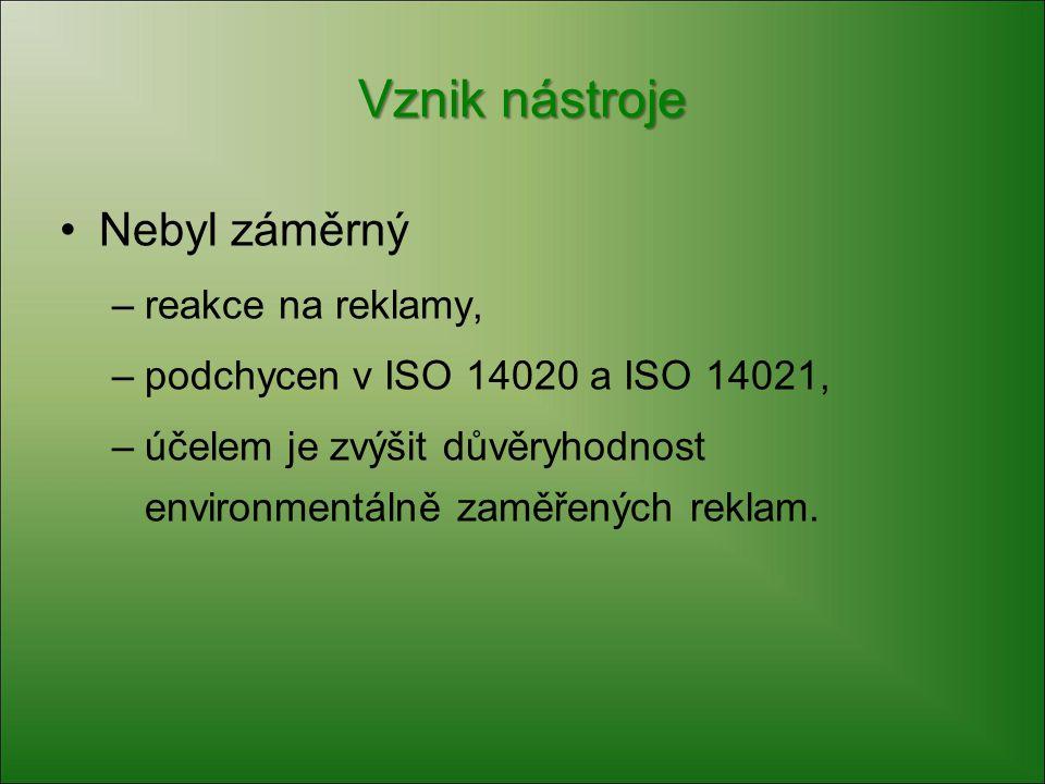 Vznik nástroje Nebyl záměrný –reakce na reklamy, –podchycen v ISO 14020 a ISO 14021, –účelem je zvýšit důvěryhodnost environmentálně zaměřených reklam