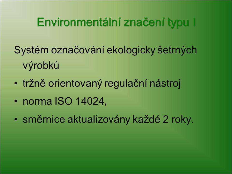 Environmentální značení typu I Systém označování ekologicky šetrných výrobků tržně orientovaný regulační nástroj norma ISO 14024, směrnice aktualizová