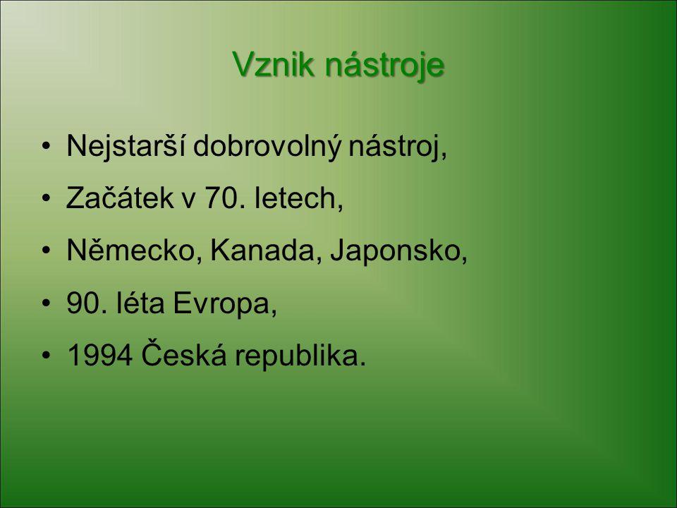 Vznik nástroje Nejstarší dobrovolný nástroj, Začátek v 70. letech, Německo, Kanada, Japonsko, 90. léta Evropa, 1994 Česká republika.