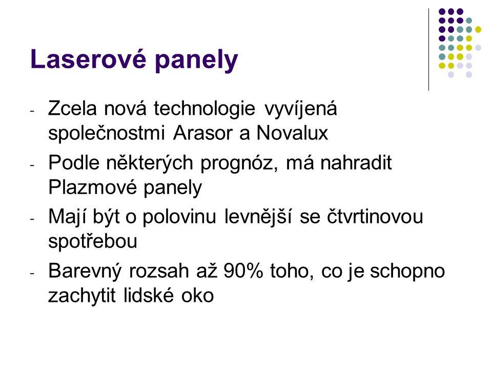 - Zcela nová technologie vyvíjená společnostmi Arasor a Novalux - Podle některých prognóz, má nahradit Plazmové panely - Mají být o polovinu levnější