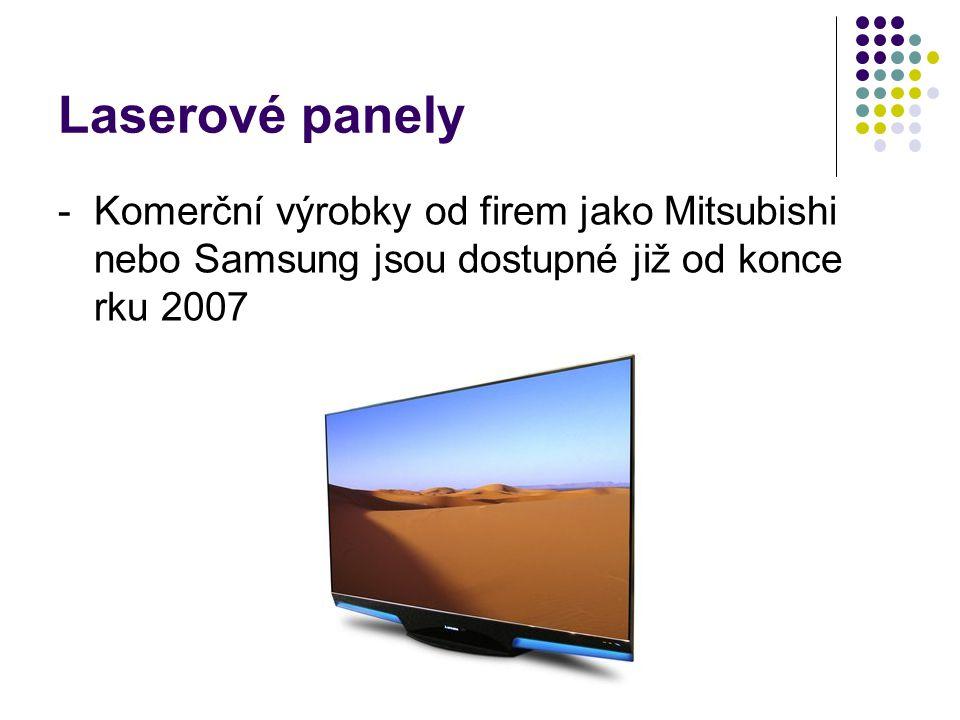 Laserové panely - Komerční výrobky od firem jako Mitsubishi nebo Samsung jsou dostupné již od konce rku 2007