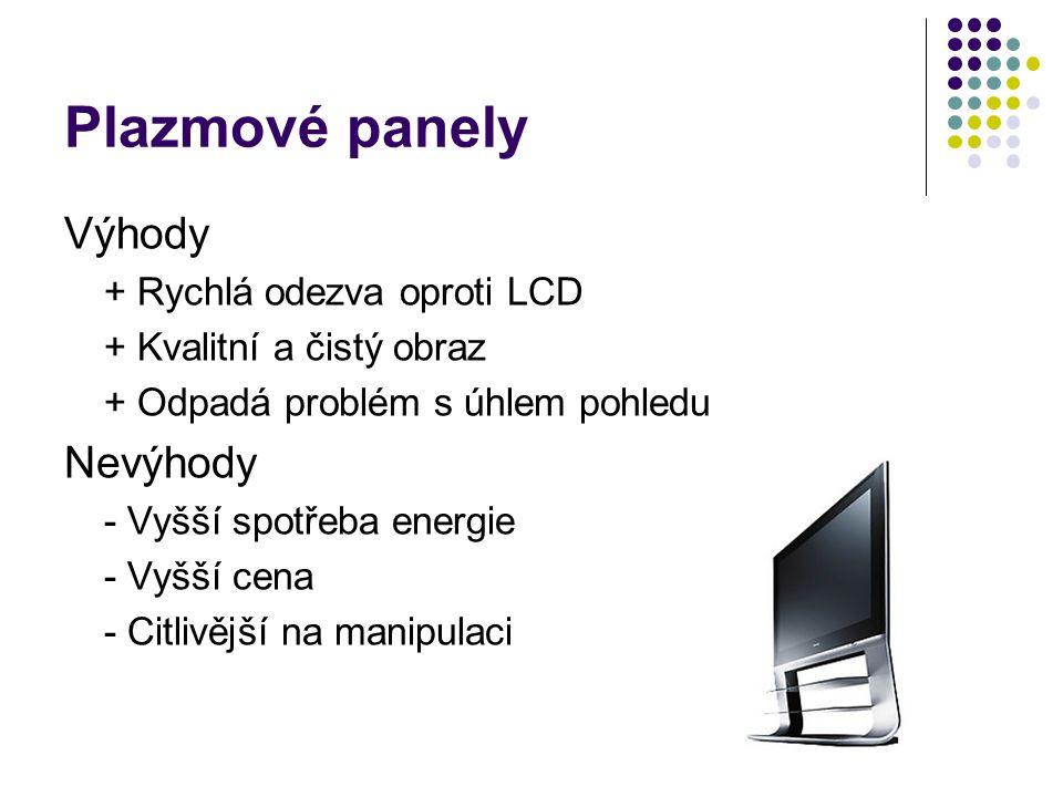 Plazmové panely Výhody + Rychlá odezva oproti LCD + Kvalitní a čistý obraz + Odpadá problém s úhlem pohledu Nevýhody - Vyšší spotřeba energie - Vyšší