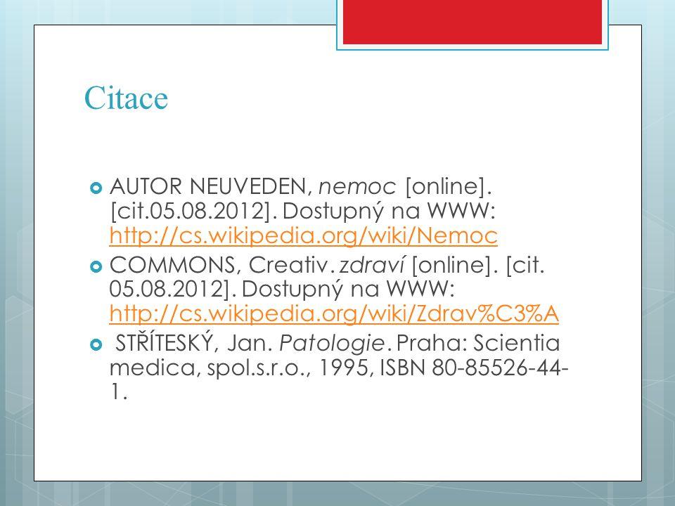 Citace  AUTOR NEUVEDEN, nemoc [online]. [cit.05.08.2012]. Dostupný na WWW: http://cs.wikipedia.org/wiki/Nemoc http://cs.wikipedia.org/wiki/Nemoc  CO