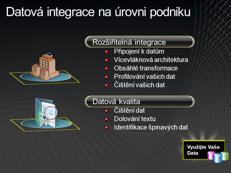 Datová integrace na úrovni podniku Rozšiřitelná integrace Připojení k datům Vícevláknová architektura Obsáhlé transformace Profilování vašich dat Čišt