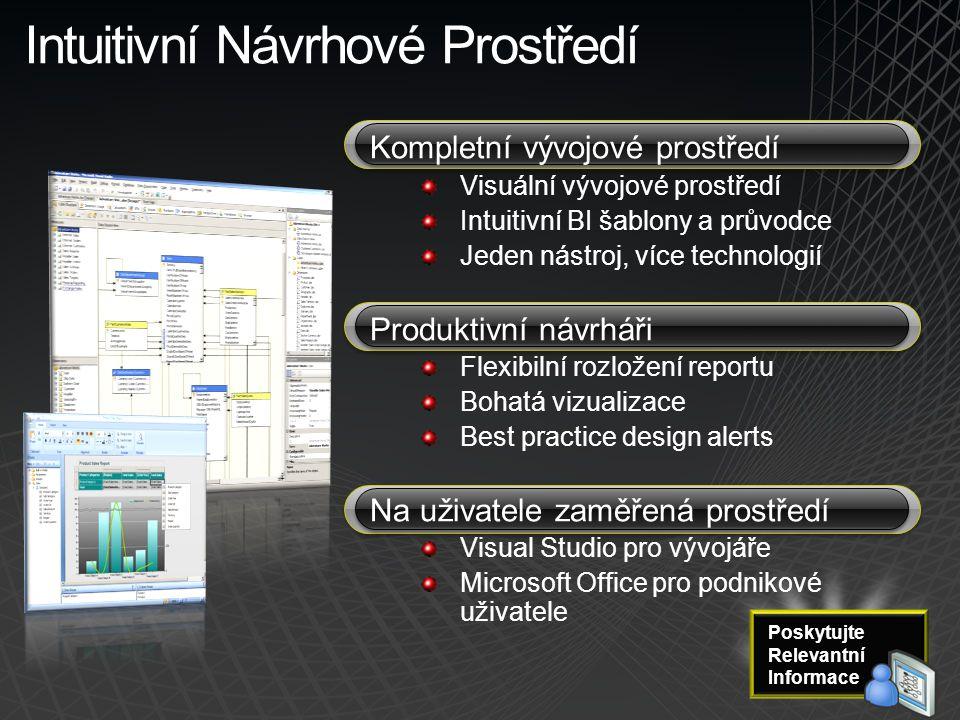 Intuitivní Návrhové Prostředí Kompletní vývojové prostředí Visuální vývojové prostředí Intuitivní BI šablony a průvodce Jeden nástroj, více technologi