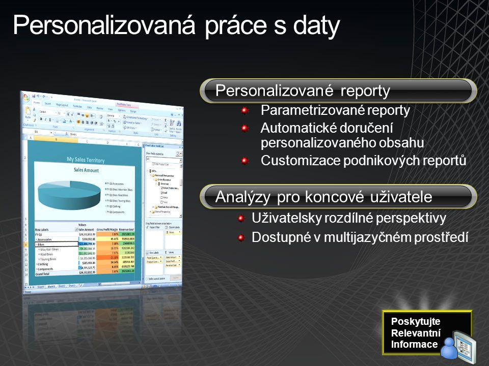 Personalizovaná práce s daty Personalizované reporty Parametrizované reporty Automatické doručení personalizovaného obsahu Customizace podnikových rep