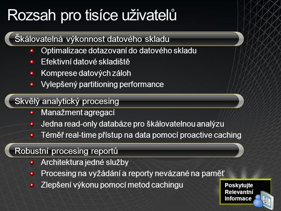 Rozsah pro tisíce uživatelů Škálovatelná výkonnost datového skladu Optimalizace dotazovaní do datového skladu Efektivní datové skladiště Komprese dato