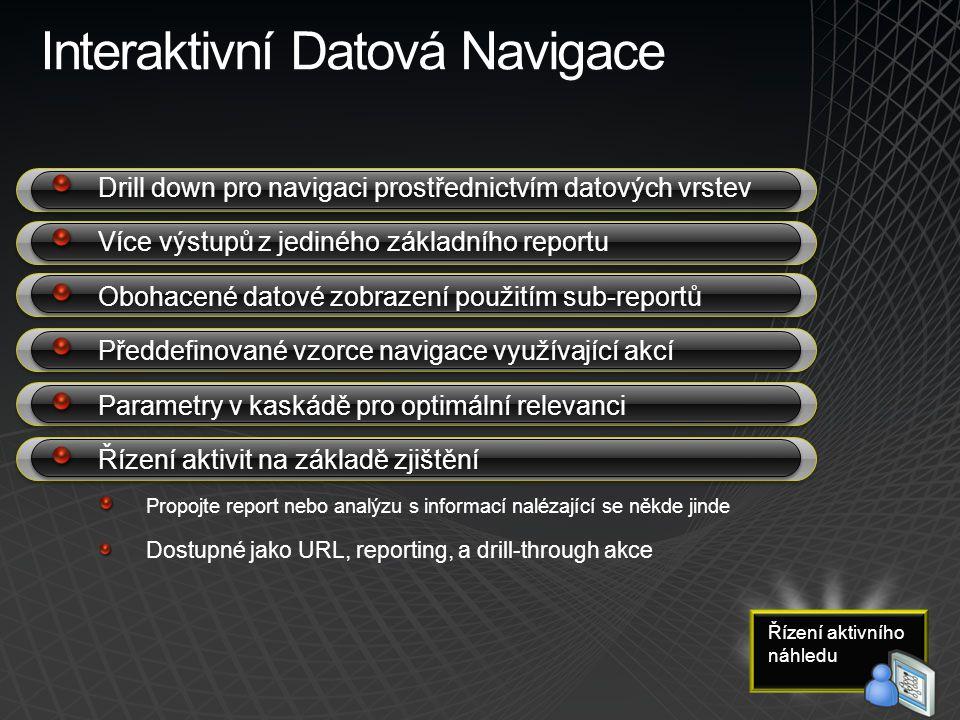 Interaktivní Datová Navigace Drill down pro navigaci prostřednictvím datových vrstev Více výstupů z jediného základního reportu Obohacené datové zobra