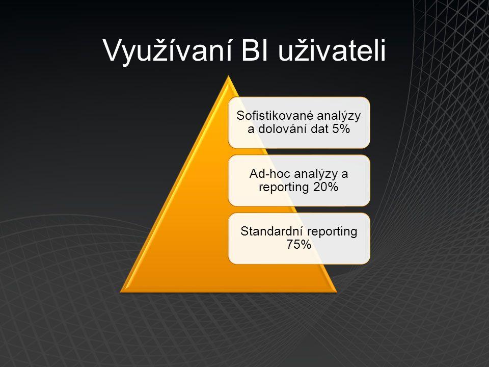 Využívaní BI uživateli Sofistikované analýzy a dolování dat 5% Ad-hoc analýzy a reporting 20% Standardní reporting 75%
