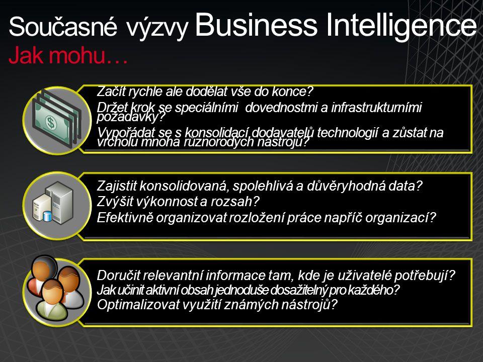 Současné výzvy Business Intelligence Jak mohu… Začít rychle ale dodělat vše do konce? Držet krok se speciálními dovednostmi a infrastrukturními požada