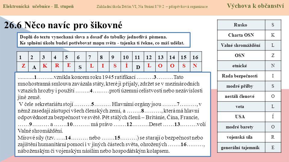 26.7 CLIL (International organizations) Elektronická učebnice - II.