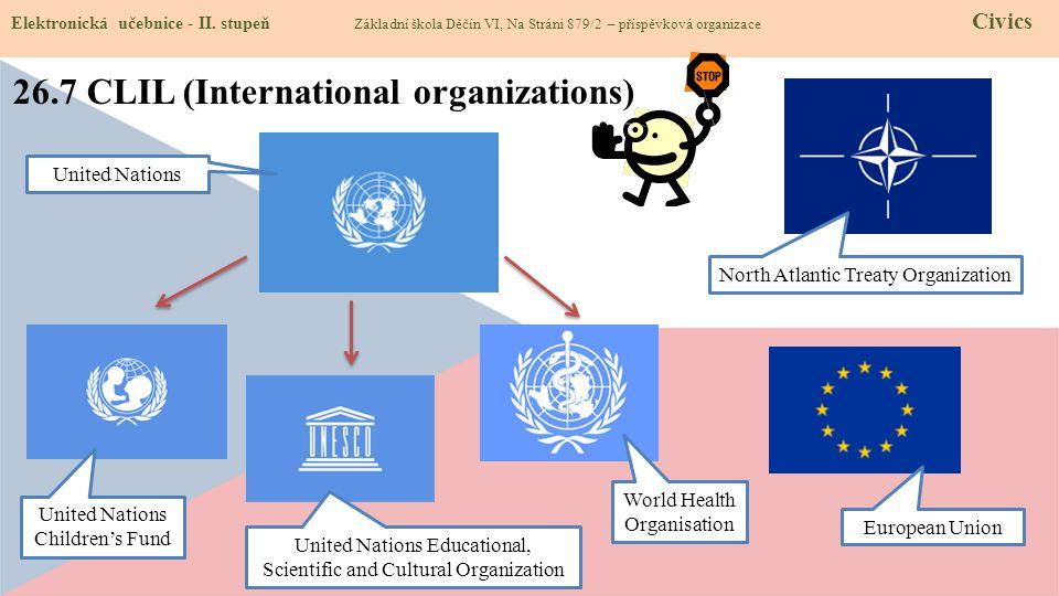 26.7 CLIL (International organizations) Elektronická učebnice - II. stupeň Základní škola Děčín VI, Na Stráni 879/2 – příspěvková organizace Civics Un