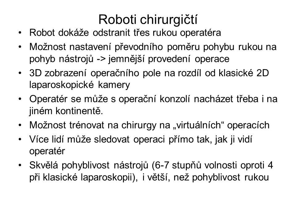Robot dokáže odstranit třes rukou operatéra Možnost nastavení převodního poměru pohybu rukou na pohyb nástrojů -> jemnější provedení operace 3D zobraz