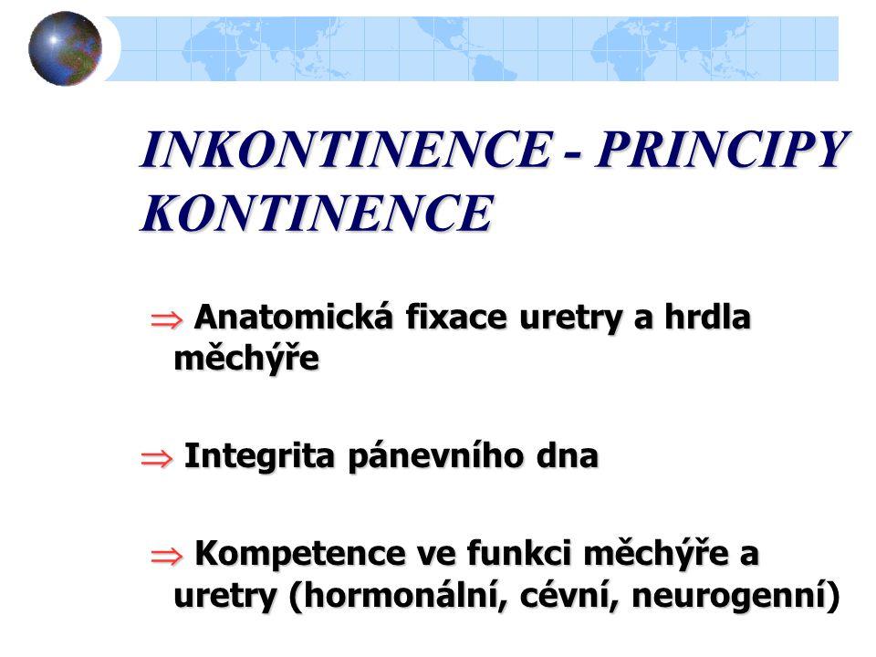 INKONTINENCE - PRINCIPY KONTINENCE  Anatomická fixace uretry a hrdla měchýře  Anatomická fixace uretry a hrdla měchýře  Integrita pánevního dna  Kompetence ve funkci měchýře a uretry (hormonální, cévní, neurogenní  Kompetence ve funkci měchýře a uretry (hormonální, cévní, neurogenní)
