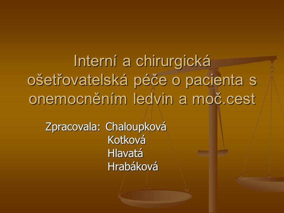 Interní a chirurgická ošetřovatelská péče o pacienta s onemocněním ledvin a moč.cest Zpracovala: Chaloupková Kotková Kotková Hlavatá Hlavatá Hrabáková