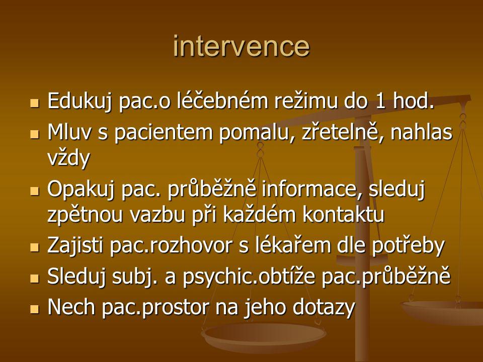 intervence Edukuj pac.o léčebném režimu do 1 hod. Edukuj pac.o léčebném režimu do 1 hod. Mluv s pacientem pomalu, zřetelně, nahlas vždy Mluv s pacient