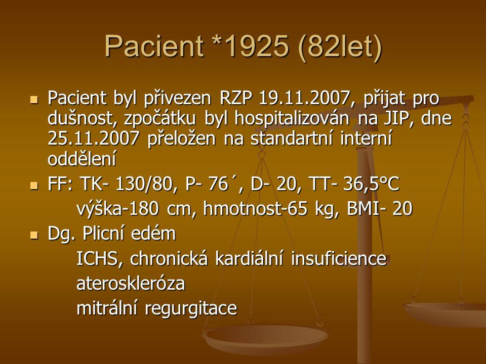 Pacient *1925 (82let) Pacient byl přivezen RZP 19.11.2007, přijat pro dušnost, zpočátku byl hospitalizován na JIP, dne 25.11.2007 přeložen na standart