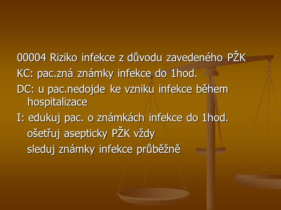 00004 Riziko infekce z důvodu zavedeného PŽK KC: pac.zná známky infekce do 1hod. DC: u pac.nedojde ke vzniku infekce během hospitalizace I: edukuj pac