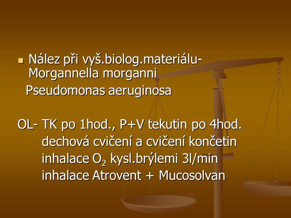 Nález při vyš.biolog.materiálu- Morgannella morganni Nález při vyš.biolog.materiálu- Morgannella morganni Pseudomonas aeruginosa Pseudomonas aeruginos