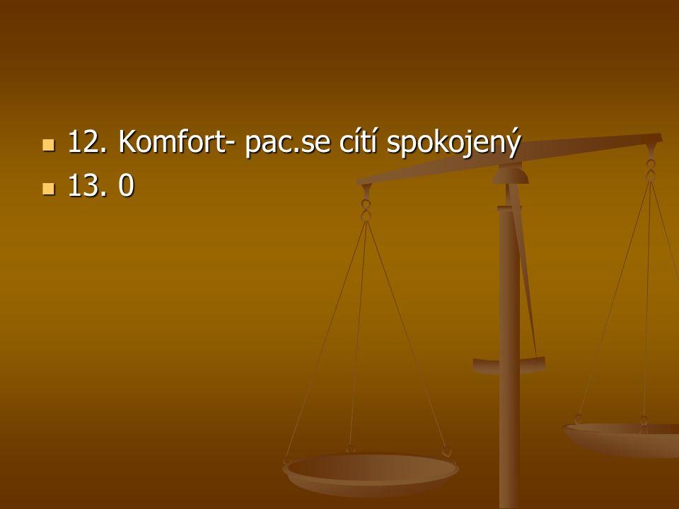 12. Komfort- pac.se cítí spokojený 12. Komfort- pac.se cítí spokojený 13. 0 13. 0