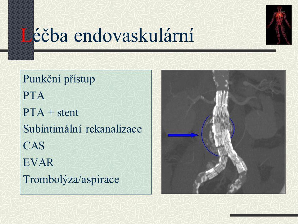 Léčba endovaskulární Punkční přístup PTA PTA + stent Subintimální rekanalizace CAS EVAR Trombolýza/aspirace