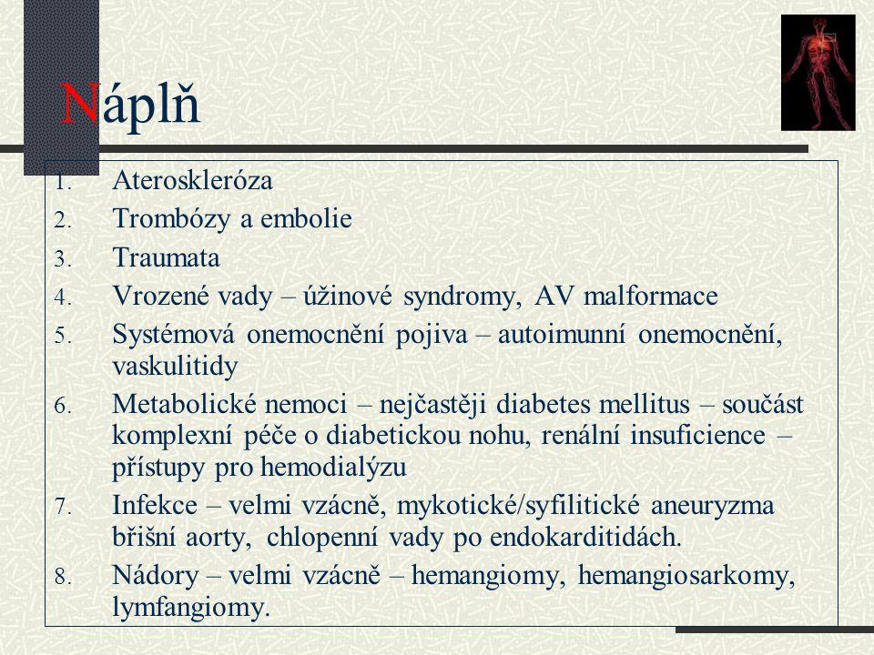 Náplň 1. Ateroskleróza 2. Trombózy a embolie 3. Traumata 4. Vrozené vady – úžinové syndromy, AV malformace 5. Systémová onemocnění pojiva – autoimunní