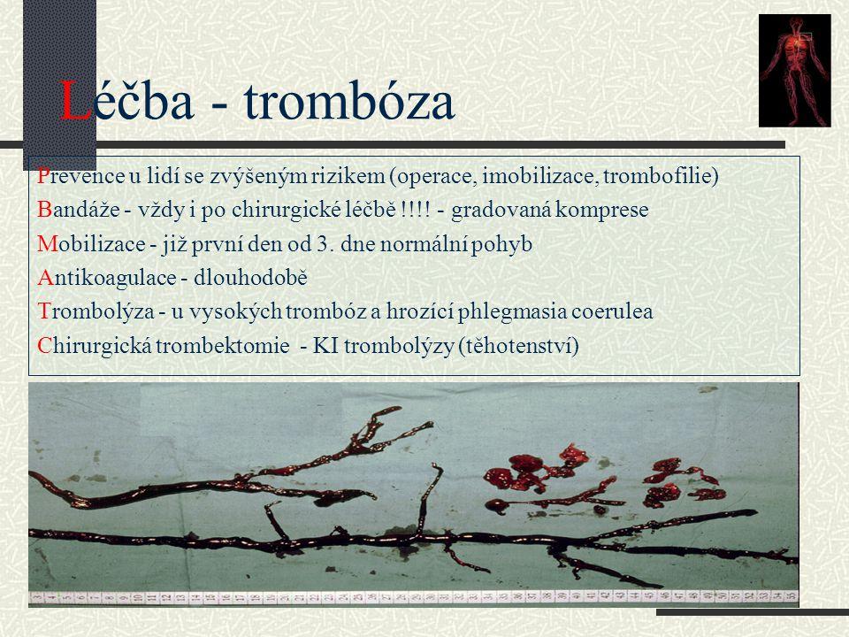 Léčba - trombóza Prevence u lidí se zvýšeným rizikem (operace, imobilizace, trombofilie) Bandáže - vždy i po chirurgické léčbě !!!! - gradovaná kompre