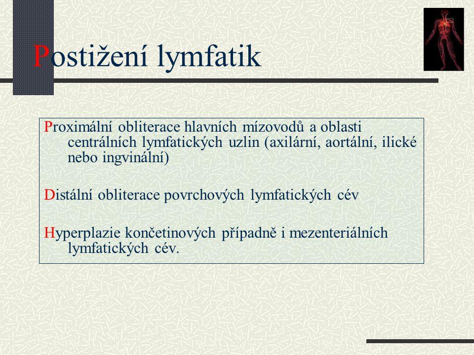 Postižení lymfatik Proximální obliterace hlavních mízovodů a oblasti centrálních lymfatických uzlin (axilární, aortální, ilické nebo ingvinální) Distá