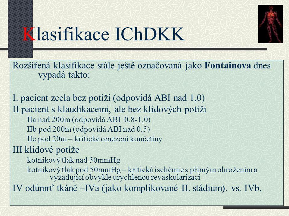 Klasifikace IChDKK Rozšířená klasifikace stále ještě označovaná jako Fontainova dnes vypadá takto: I. pacient zcela bez potíží (odpovídá ABI nad 1,0)