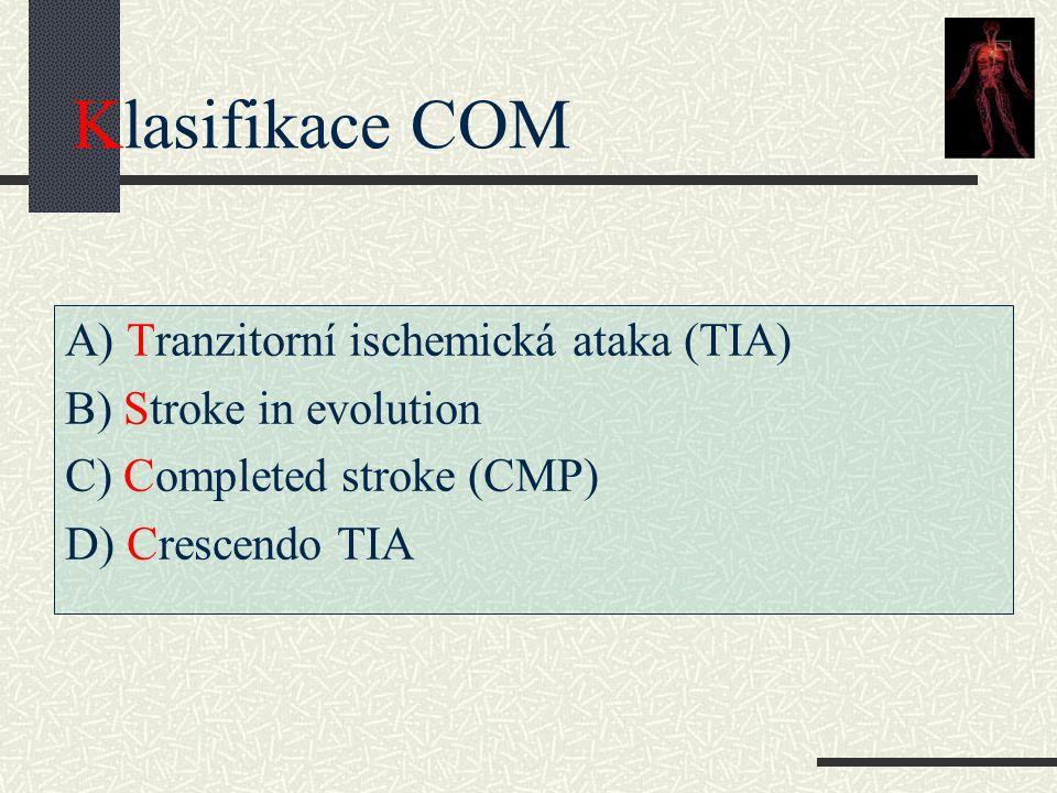 Klasifikace COM A) Tranzitorní ischemická ataka (TIA) B) Stroke in evolution C) Completed stroke (CMP) D) Crescendo TIA