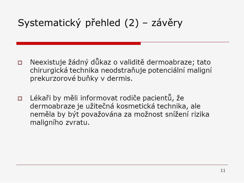 Systematický přehled (2) – závěry  Neexistuje žádný důkaz o validitě dermoabraze; tato chirurgická technika neodstraňuje potenciální maligní prekurzo