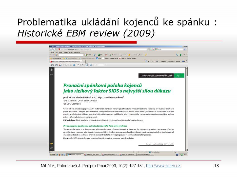 Problematika ukládání kojenců ke spánku : Historické EBM review (2009) 18 Mihál V., Potomková J. Ped pro Praxi 2009; 10(2): 127-131. http://www.solen.