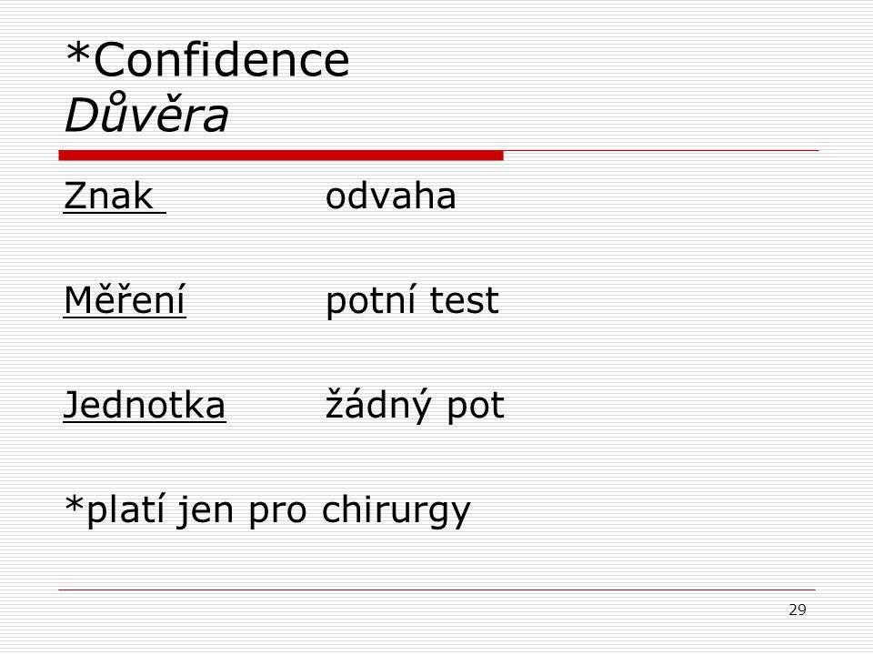 *Confidence Důvěra Znak odvaha Měřenípotní test Jednotkažádný pot *platí jen pro chirurgy 29