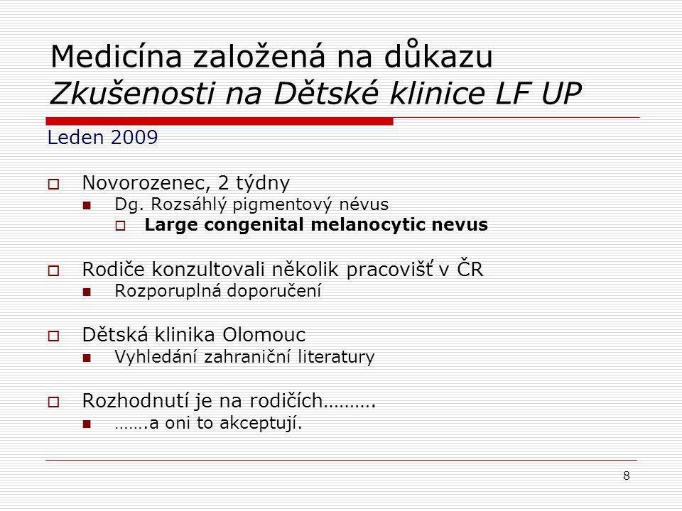 Hledání důkazů pro klinické rozhodnutí : hierarchie 1.Systematický přehled 2.Prospektivní follow- up studie (sledování v čase) 3.Kazuistika 9 Randomizované kontrolované pokusy Kohortové studie Studie případů a kontrol Kazuistiky Laboratorní výzkum Odborné posudky, konzultace Systematické přehledy, meta-analýza