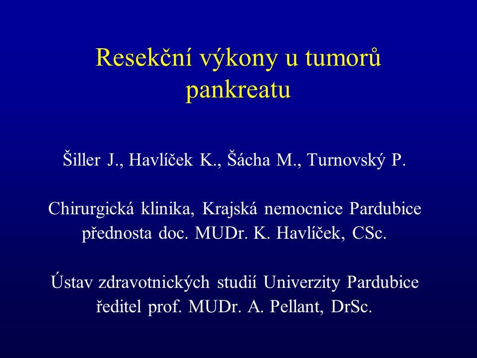 Resekční výkony u tumorů pankreatu Šiller J., Havlíček K., Šácha M., Turnovský P. Chirurgická klinika, Krajská nemocnice Pardubice přednosta doc. MUDr