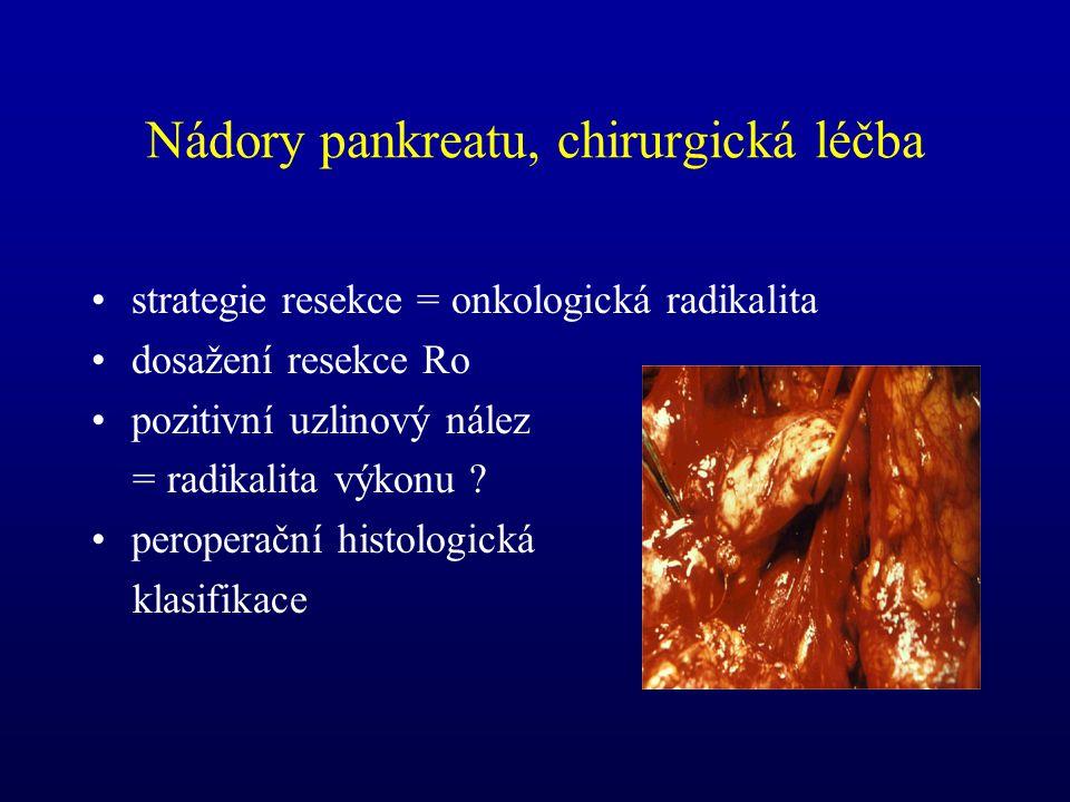 Nádory pankreatu, chirurgická léčba strategie resekce = onkologická radikalita dosažení resekce Ro pozitivní uzlinový nález = radikalita výkonu ? pero