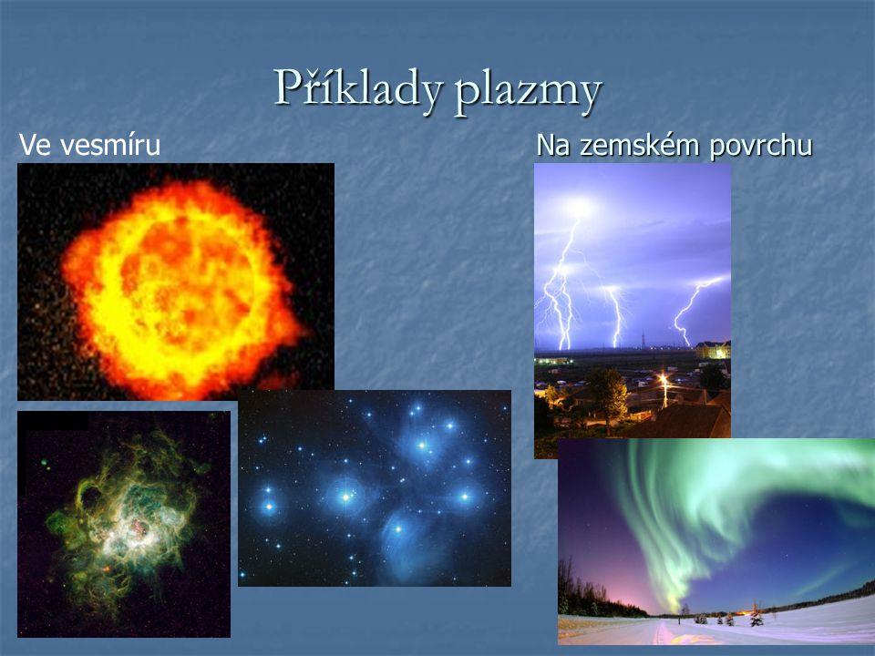 Příklady plazmy Ve vesmíru Na zemském povrchu