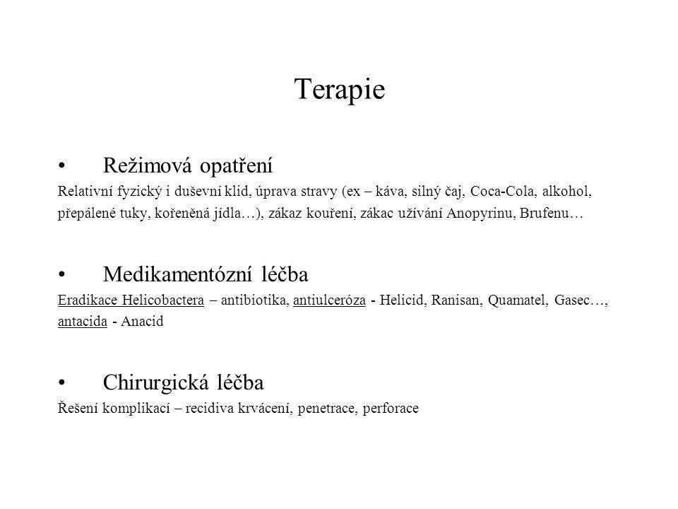 Terapie Režimová opatření Relativní fyzický i duševní klid, úprava stravy (ex – káva, silný čaj, Coca-Cola, alkohol, přepálené tuky, kořeněná jídla…),