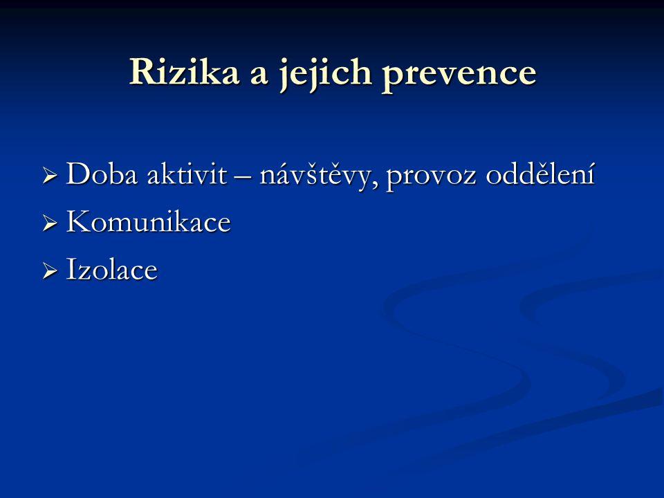 Rizika a jejich prevence  Doba aktivit – návštěvy, provoz oddělení  Komunikace  Izolace