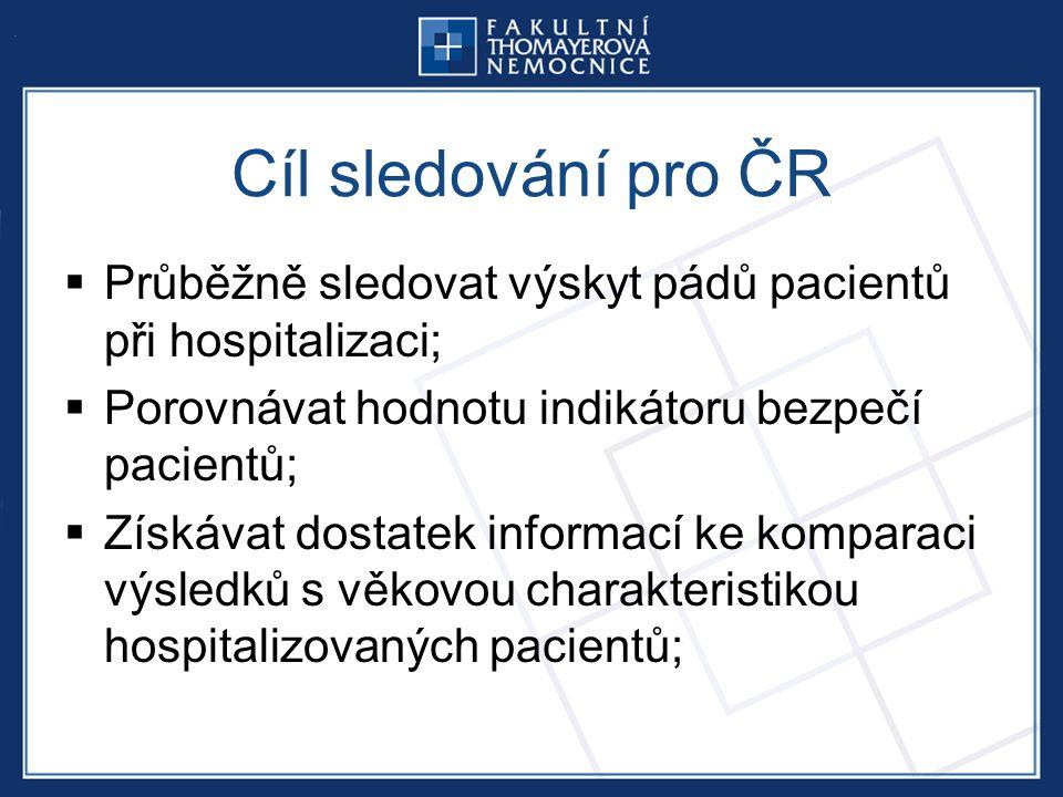 Cíl sledování pro ČR  Průběžně sledovat výskyt pádů pacientů při hospitalizaci;  Porovnávat hodnotu indikátoru bezpečí pacientů;  Získávat dostatek informací ke komparaci výsledků s věkovou charakteristikou hospitalizovaných pacientů;