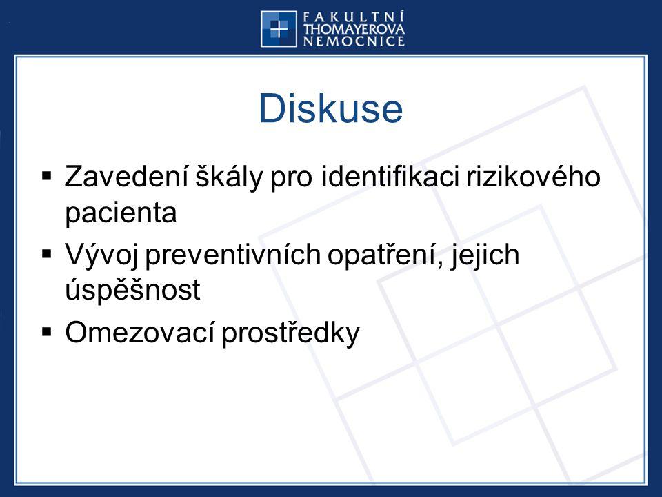 Diskuse  Zavedení škály pro identifikaci rizikového pacienta  Vývoj preventivních opatření, jejich úspěšnost  Omezovací prostředky