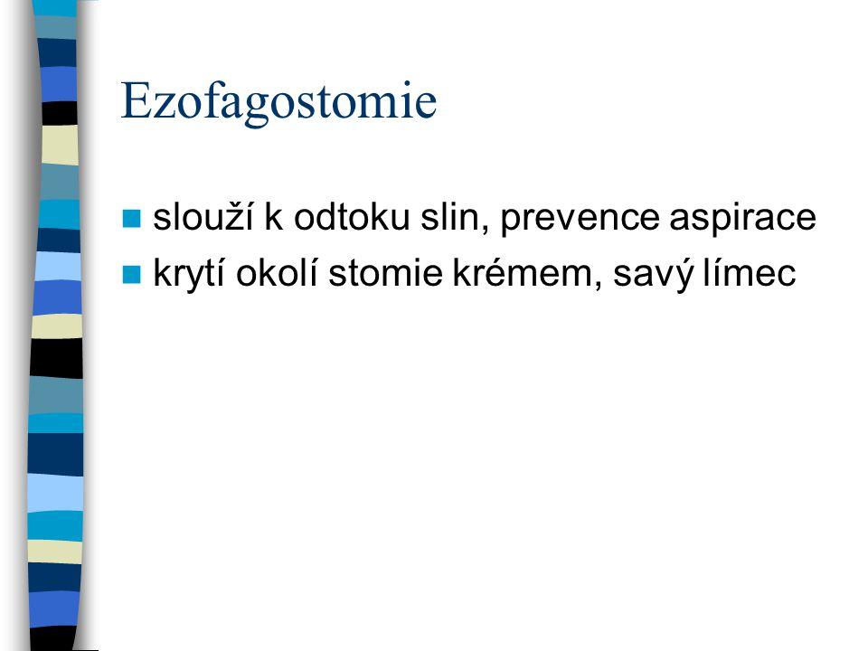 Ezofagostomie slouží k odtoku slin, prevence aspirace krytí okolí stomie krémem, savý límec