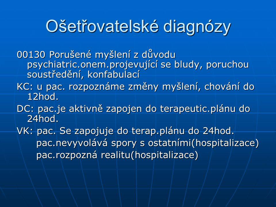 Ošetřovatelské diagnózy 00130 Porušené myšlení z důvodu psychiatric.onem.projevující se bludy, poruchou soustředění, konfabulací KC: u pac. rozpoznáme