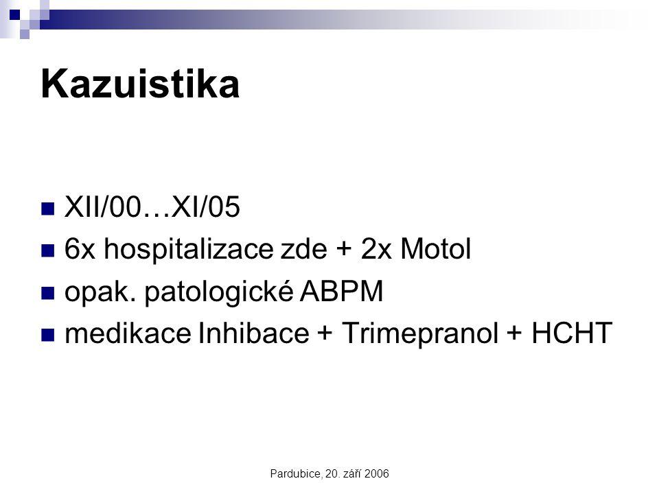 Pardubice, 20. září 2006 Kazuistika XII/00…XI/05 6x hospitalizace zde + 2x Motol opak. patologické ABPM medikace Inhibace + Trimepranol + HCHT