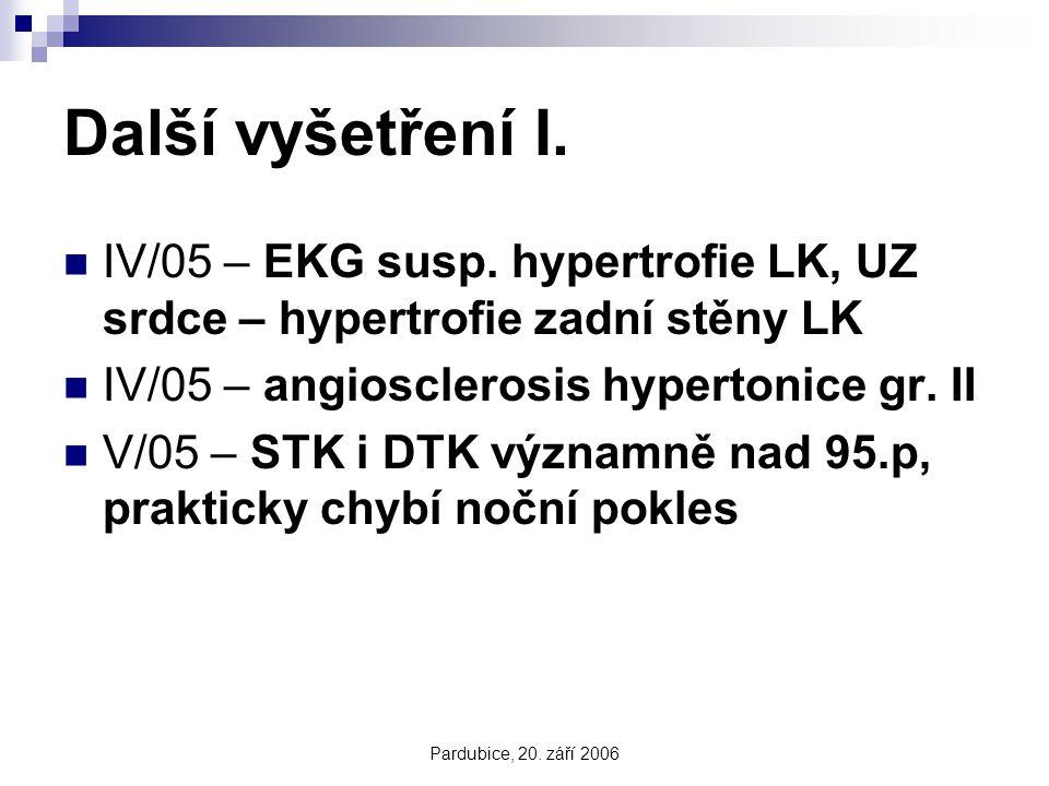 Pardubice, 20. září 2006 Další vyšetření I. IV/05 – EKG susp. hypertrofie LK, UZ srdce – hypertrofie zadní stěny LK IV/05 – angiosclerosis hypertonice
