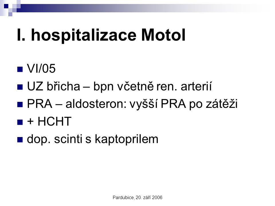 Pardubice, 20. září 2006 I. hospitalizace Motol VI/05 UZ břicha – bpn včetně ren. arterií PRA – aldosteron: vyšší PRA po zátěži + HCHT dop. scinti s k