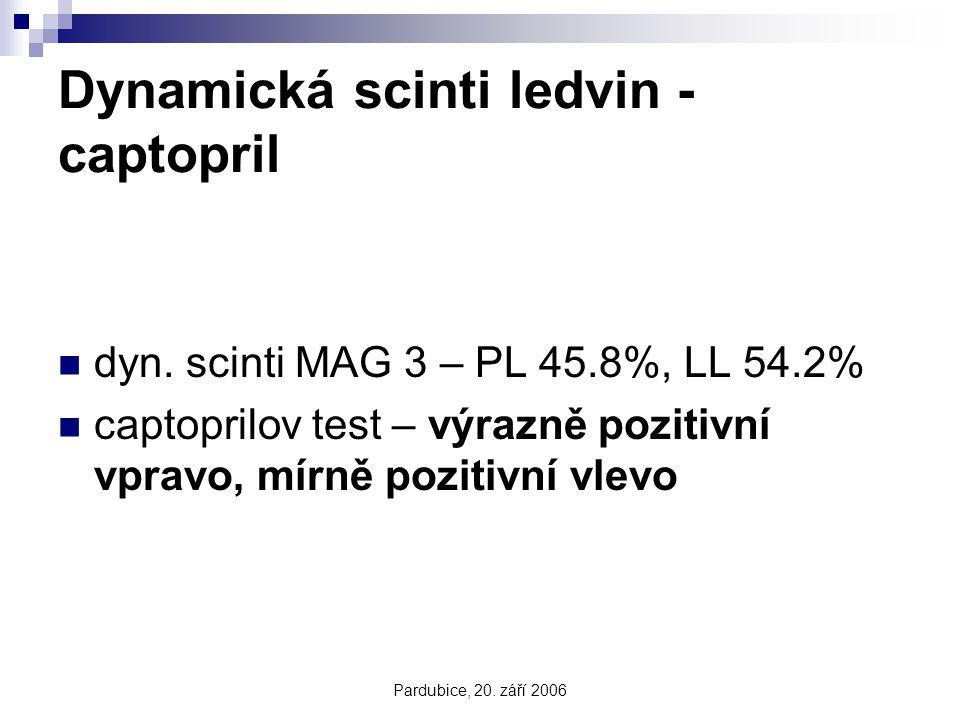 Pardubice, 20. září 2006 Dynamická scinti ledvin - captopril dyn. scinti MAG 3 – PL 45.8%, LL 54.2% captoprilov test – výrazně pozitivní vpravo, mírně