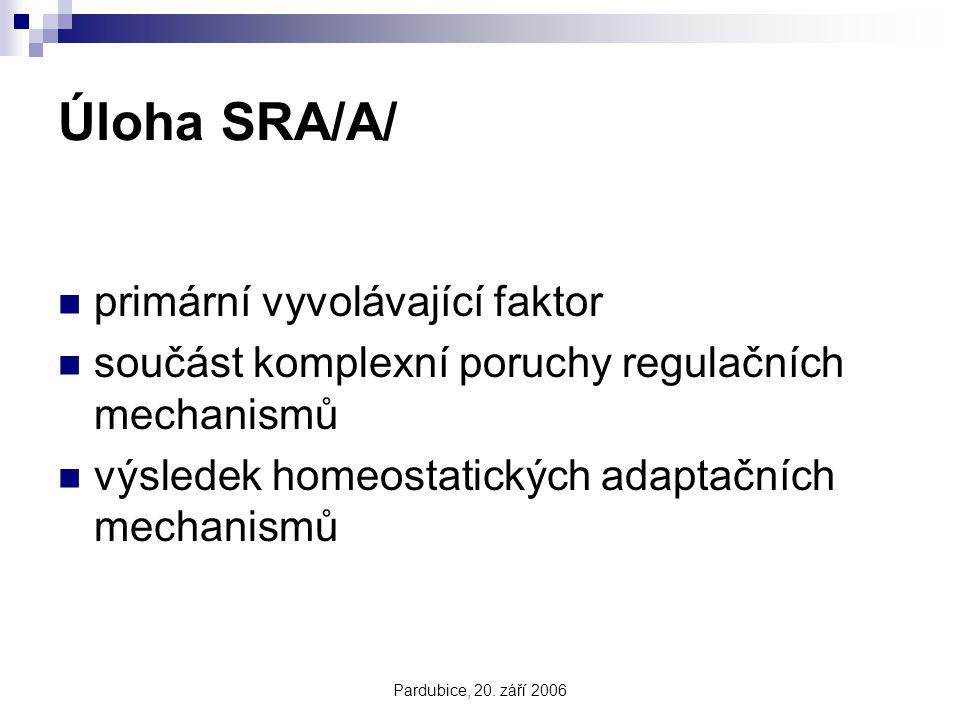 Pardubice, 20. září 2006 Úloha SRA/A/ primární vyvolávající faktor součást komplexní poruchy regulačních mechanismů výsledek homeostatických adaptační